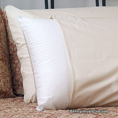 Natural cotton pillow covers cottonfresh dust mite for Dust mite allergy pillow cover