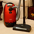 Miele Red Velvet S558 HEPA Canister Vacuum Cleaners with Powerbrush