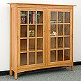 New England Wood 2-Door Glass Bookcase