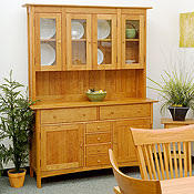 New England Wood Chatham Medium Sideboard with Glass Hutch Top