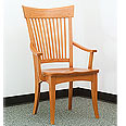 Dining side arm chair with wooden seat