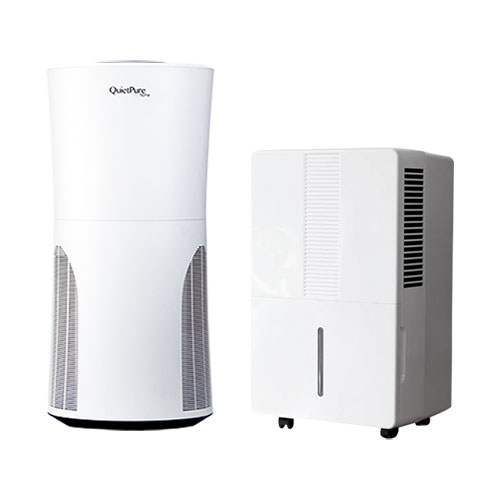 Pure & Dry Whisper 70 Pint Dehumidifier w/ Pump & QuietPure Home+ Smoke Air Purifier Bundle