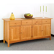 New England Wood Chatham Long Sideboard with Glass Hutch Top